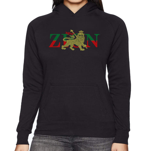LA Pop Art Women's Word Art Hooded Sweatshirt - Zion - One Love