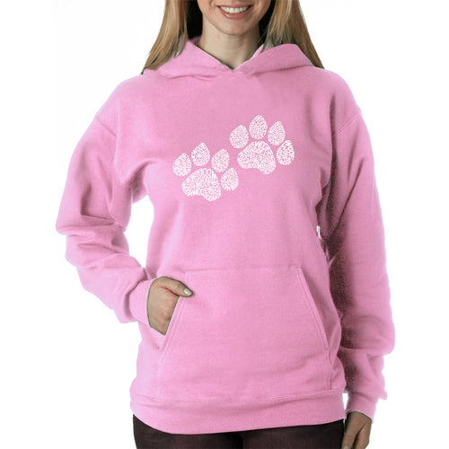 LA Pop Art  Women's Word Art Hooded Sweatshirt -Woof Paw Prints