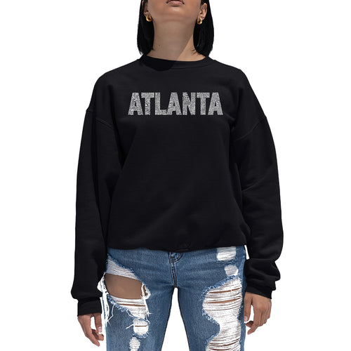 LA Pop Art Women's Word Art Crewneck Sweatshirt - ATLANTA NEIGHBORHOODS