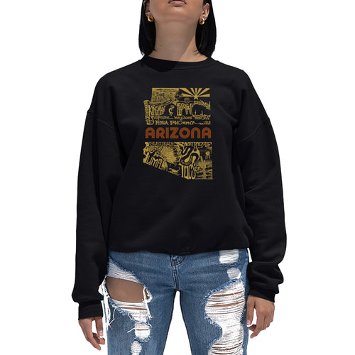 LA Pop Art Women's Word Art Crewneck Sweatshirt - Az Pics