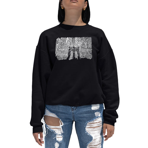 LA Pop Art Women's Word Art Crewneck Sweatshirt - Brooklyn Bridge