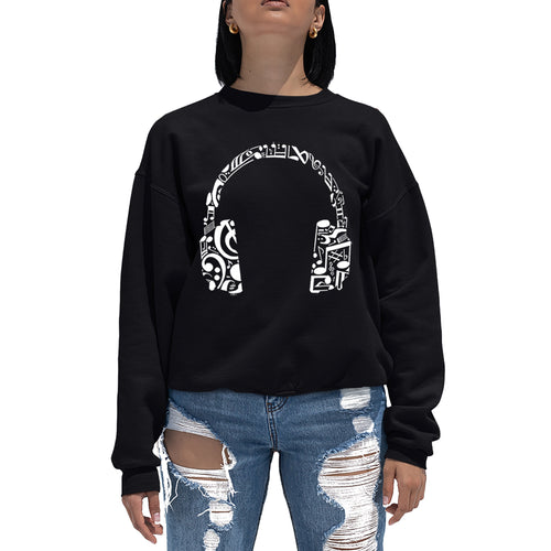 LA Pop Art Women's Word Art Crewneck Sweatshirt - Music Note Headphones