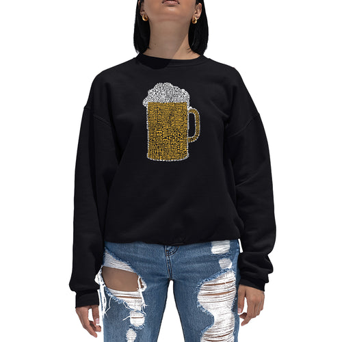 LA Pop Art Women's Word Art Crewneck Sweatshirt - Slang Terms for Being Wasted