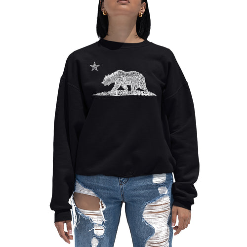 LA Pop Art Women's Word Art Crewneck Sweatshirt - California Bear