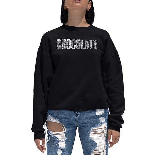 LA Pop Art Women's Word Art Crewneck Sweatshirt - Different foods made with chocolate