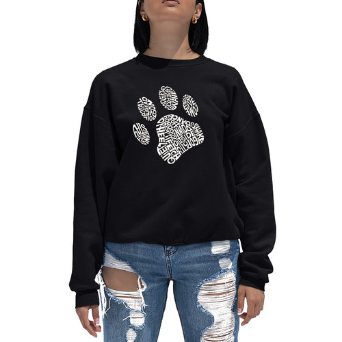 LA Pop Art Women's Word Art Crewneck Sweatshirt - Dog Paw