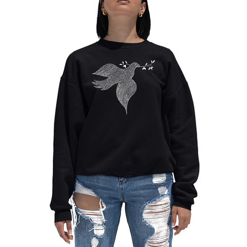 LA Pop Art  Women's Word Art Crewneck Sweatshirt - Dove