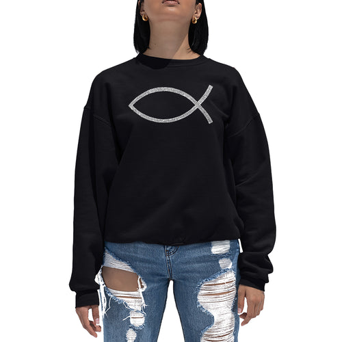 LA Pop Art Women's Word Art Crewneck Sweatshirt - JESUS FISH