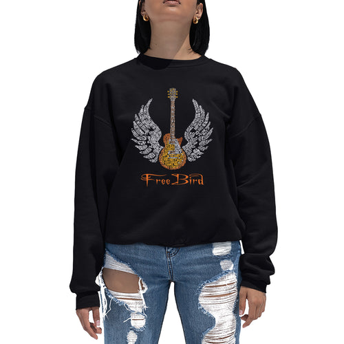 LA Pop Art Women's Word Art Crewneck Sweatshirt - LYRICS TO FREEBIRD