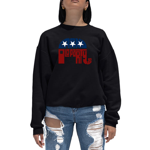 LA Pop Art Women's Word Art Crewneck Sweatshirt - REPUBLICAN - GRAND OLD PARTY
