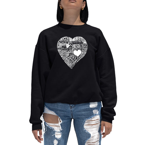 LA Pop Art Women's Word Art Crewneck Sweatshirt - LOVE IN 44 DIFFERENT LANGUAGES