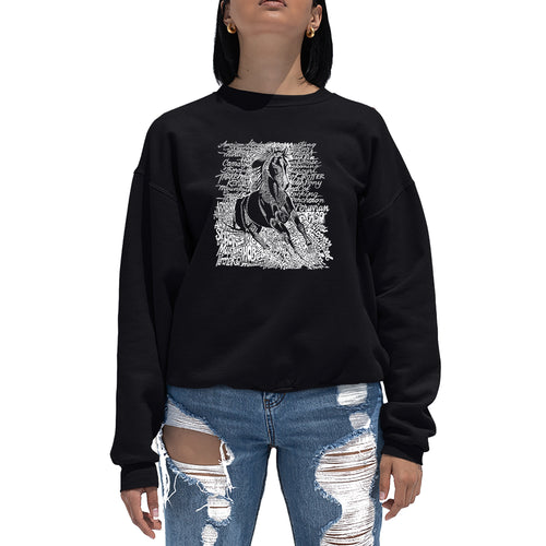 LA Pop Art Women's Word Art Crewneck Sweatshirt - POPULAR HORSE BREEDS