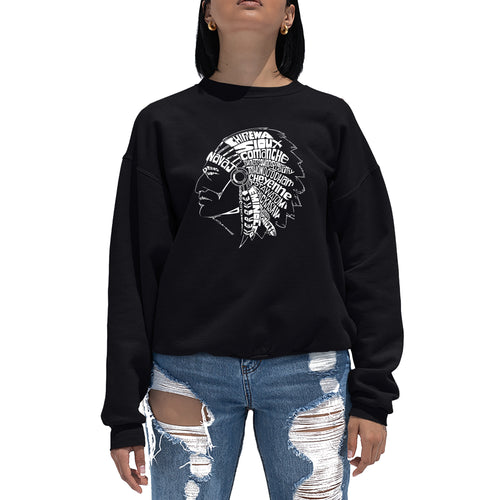 LA Pop Art Women's Word Art Crewneck Sweatshirt - POPULAR NATIVE AMERICAN INDIAN TRIBES