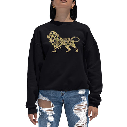 LA Pop Art Women's Word Art Crewneck Sweatshirt - Lion