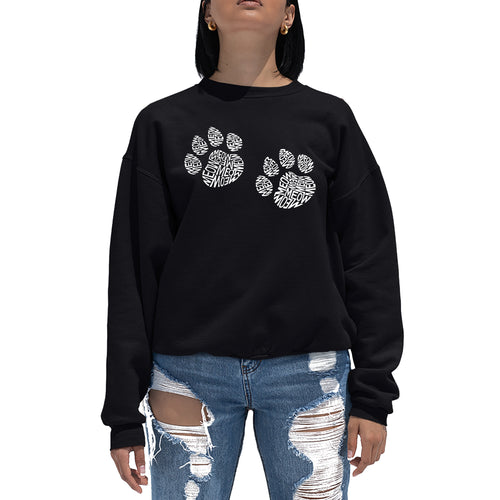 LA Pop Art  Women's Word Art Crewneck Sweatshirt - Meow Cat Prints