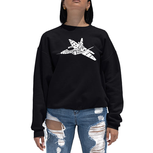 LA Pop Art Women's Word Art Crewneck Sweatshirt - FIGHTER JET - NEED FOR SPEED