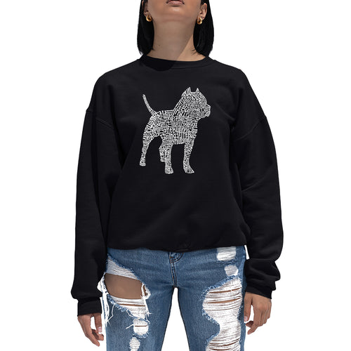 LA Pop Art  Women's Word Art Crewneck Sweatshirt - Pitbull