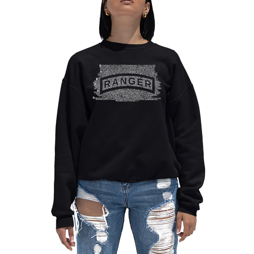 LA Pop Art Women's Word Art Crewneck Sweatshirt - The US Ranger Creed