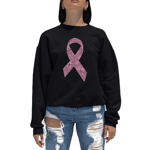 LA Pop Art Women's Word Art Crewneck Sweatshirt - CREATED OUT OF 50 SLANG TERMS FOR BREASTS
