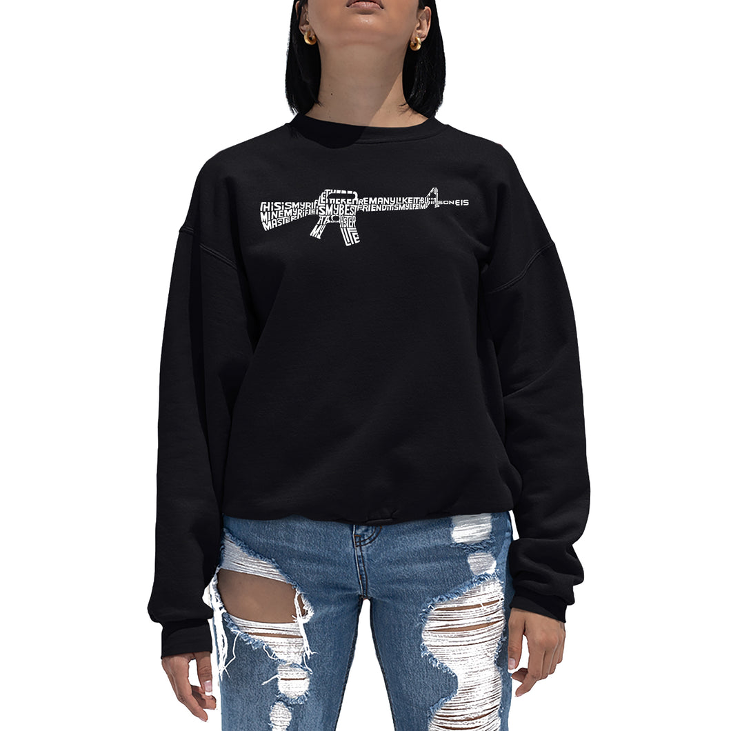 LA Pop Art Women's Word Art Crewneck Sweatshirt - RIFLEMANS CREED