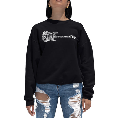 LA Pop Art  Women's Word Art Crewneck Sweatshirt - Rock Guitar