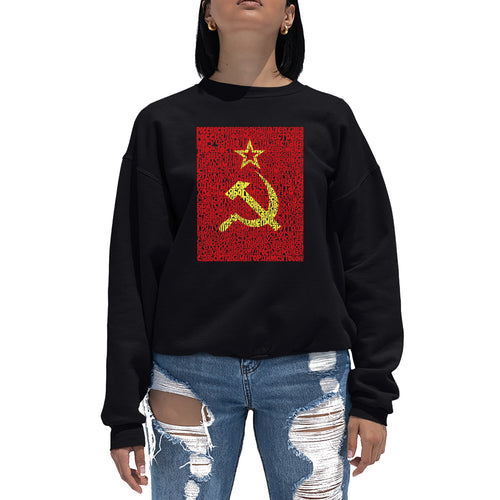 LA Pop Art Women's Word Art Crewneck Sweatshirt - Lyrics to the Soviet National Anthem