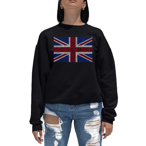 LA Pop Art Women's Word Art Crewneck Sweatshirt - God Save The Queen