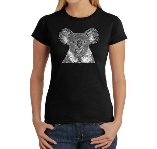 LA Pop Art Women's Word Art T-Shirt - Koala