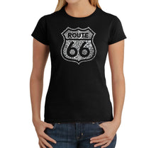 Load image into Gallery viewer, LA Pop Art Women's Word Art T-Shirt - Get Your Kicks on Route 66