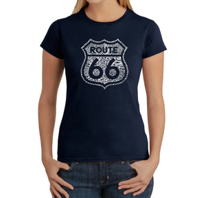 LA Pop Art Women's Word Art T-Shirt - Get Your Kicks on Route 66