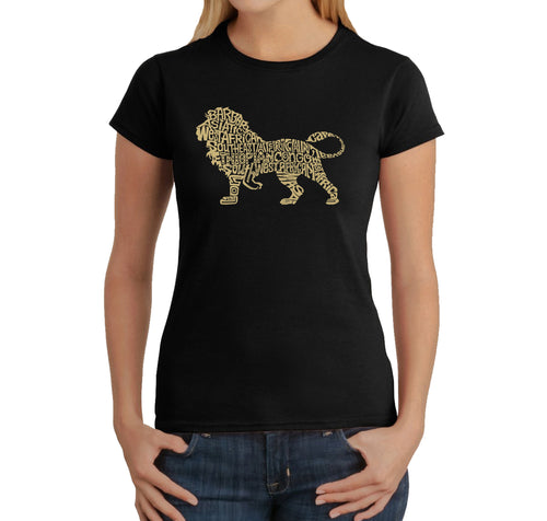 LA Pop Art Women's Word Art T-Shirt - Lion
