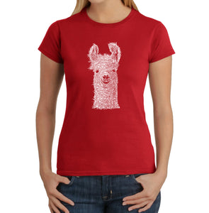 LA Pop Art Women's Word Art T-Shirt - Llama