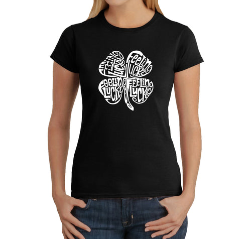 LA Pop Art Women's Word Art T-Shirt - Feeling Lucky