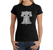 Load image into Gallery viewer, LA Pop Art  Women's Word Art T-Shirt - Liberty Bell