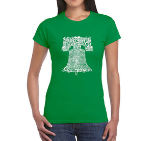 LA Pop Art  Women's Word Art T-Shirt - Liberty Bell