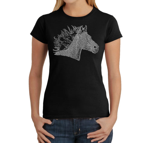 LA Pop Art Women's Word Art T-Shirt - Horse Mane