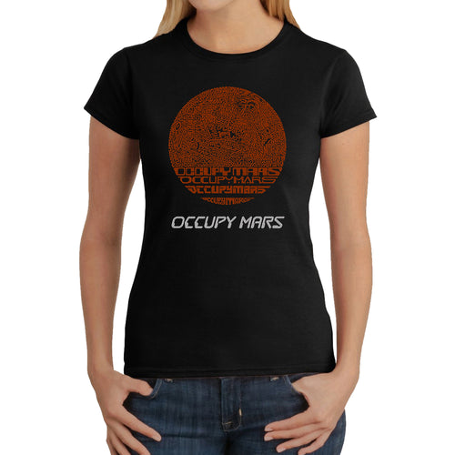 LA Pop Art Women's Word Art T-Shirt - Occupy Mars