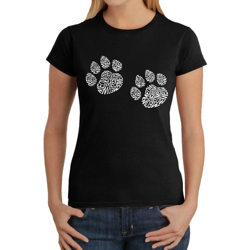 LA Pop Art  Women's Word Art T-Shirt - Meow Cat Prints