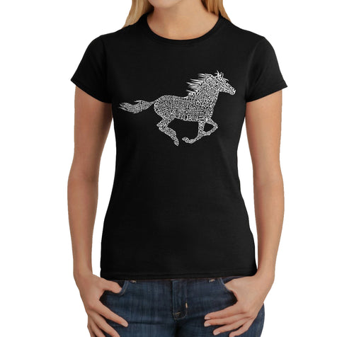 LA Pop Art  Women's Word Art T-Shirt - Horse Breeds