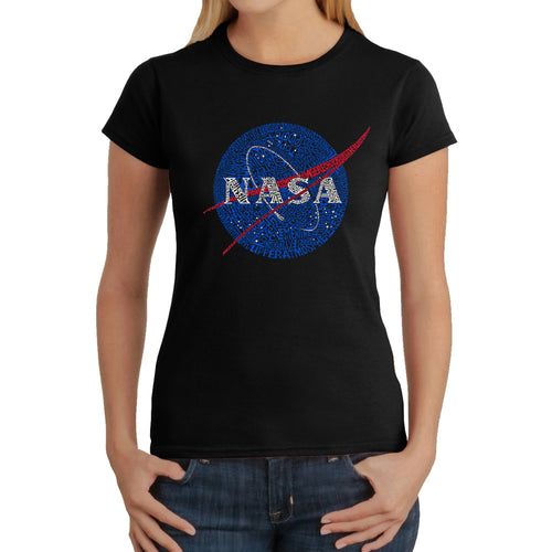 LA Pop Art  Women's Word Art T-Shirt - NASA's Most Notable Missions