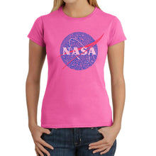 Load image into Gallery viewer, LA Pop Art  Women's Word Art T-Shirt - NASA's Most Notable Missions