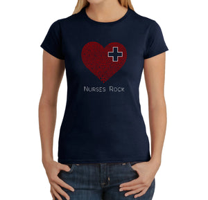 LA Pop Art Women's Word Art T-Shirt - Nurses Rock