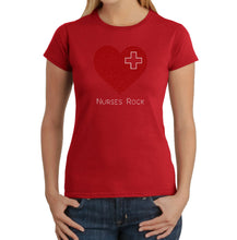Load image into Gallery viewer, LA Pop Art Women's Word Art T-Shirt - Nurses Rock