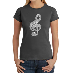 LA Pop Art  Women's Word Art T-Shirt - Music Note