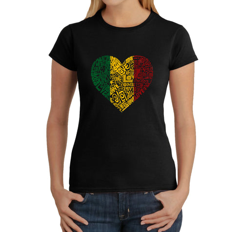 LA Pop Art  Women's Word Art T-Shirt - One Love Heart