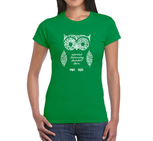 LA Pop Art  Women's Word Art T-Shirt - Owl