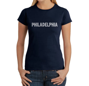 LA Pop Art Women's Word Art T-Shirt - PHILADELPHIA NEIGHBORHOODS