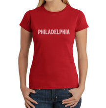 Load image into Gallery viewer, LA Pop Art Women's Word Art T-Shirt - PHILADELPHIA NEIGHBORHOODS