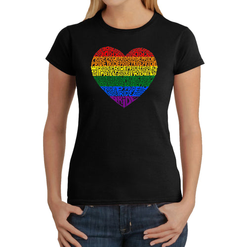 LA Pop Art Women's Word Art T-Shirt - Pride Heart