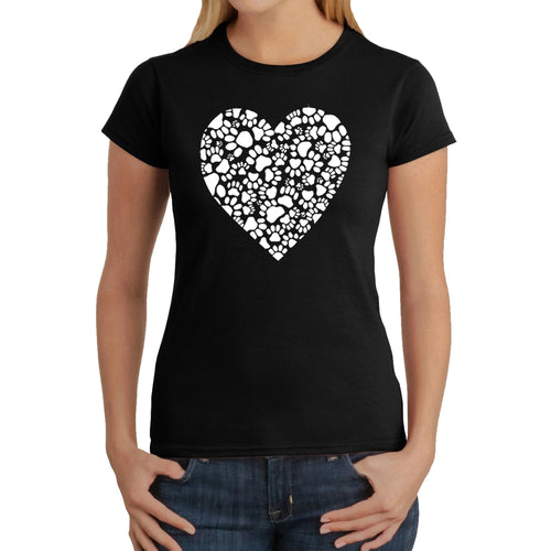LA Pop Art Women's Word Art T-Shirt - Paw Prints Heart